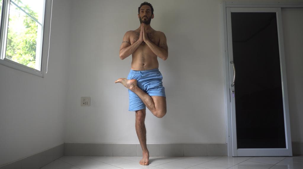 Standing half padmasana